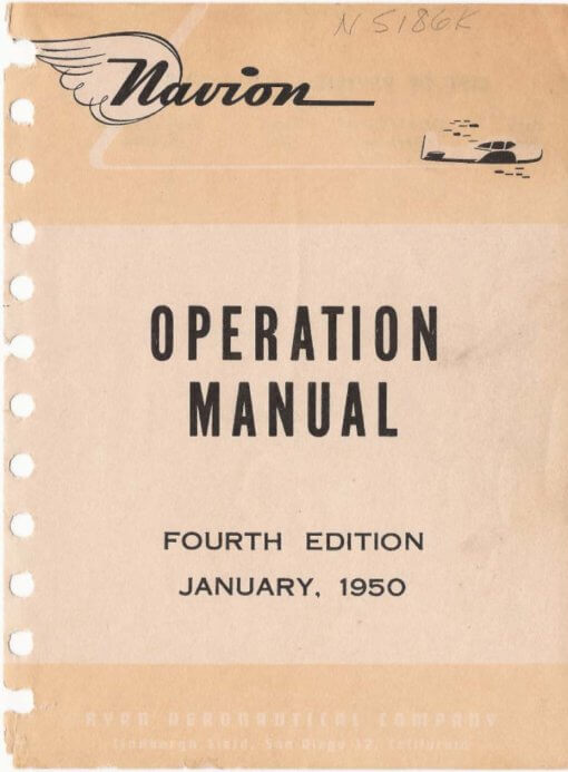 Flight Manual for the North American Ryan L-17 Navion