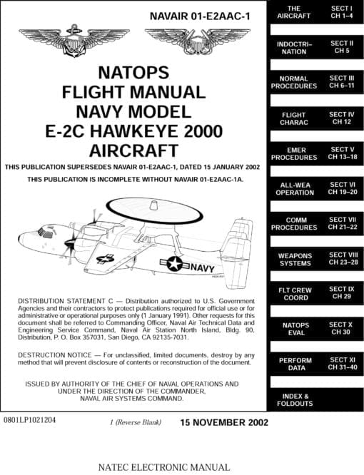 Flight Manual for the Grumman E-2C Hawkeye