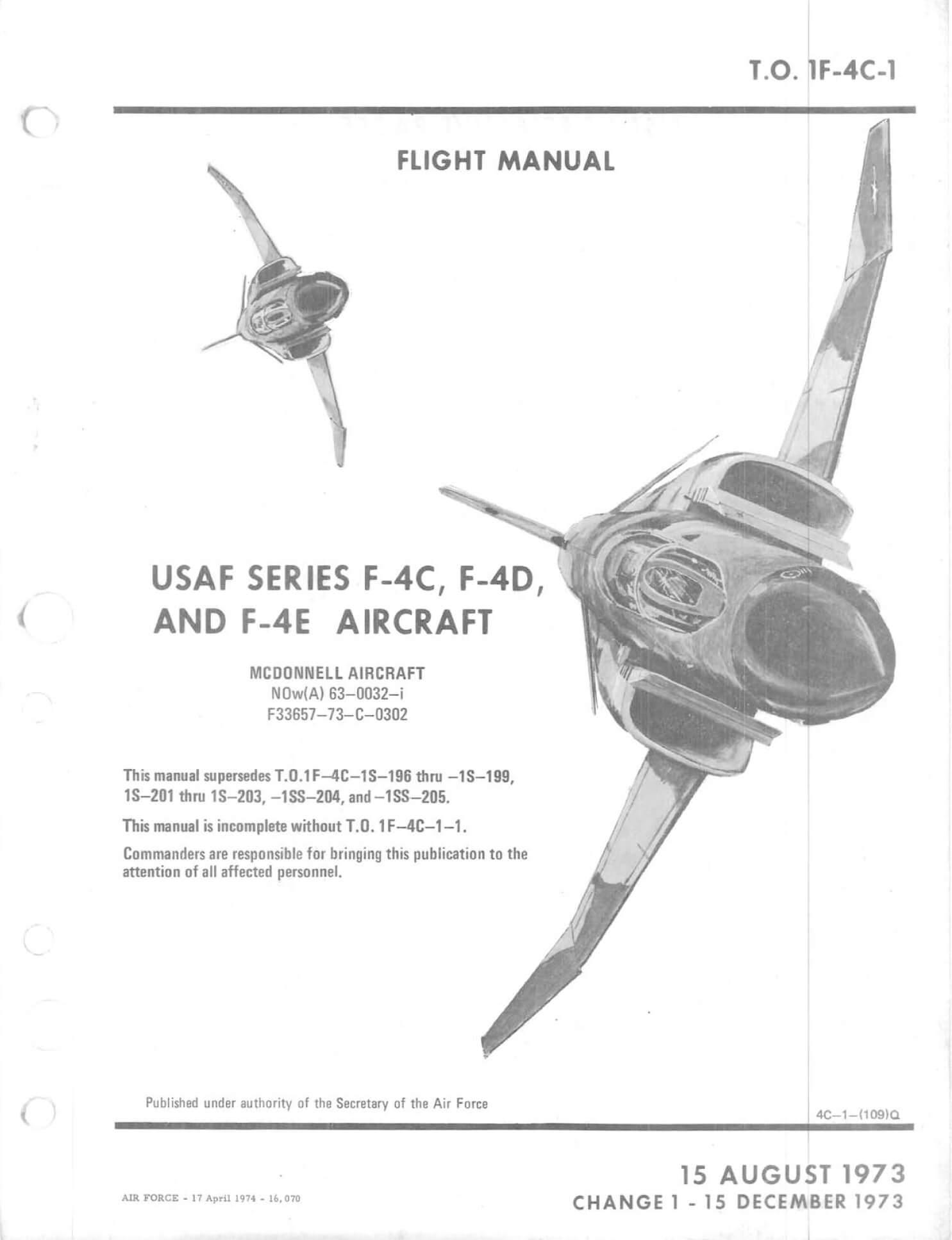 Na 1945 Mc.DONNELL F4H-1 PHANTOM II NAVWEPS 01-245FDA-1 Militaria
