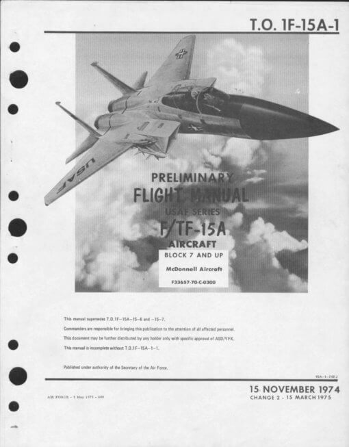 Flight Manual for the McDonnell-Douglas F-15