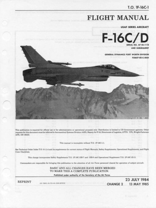 Flight Manual for the General Dynamics Lockheed Martin F-16 Fighting Falcon