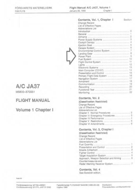 Flight Manual for the Saab 37 Viggen