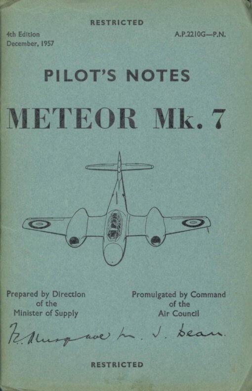 Flight manual for the Gloster Meteor