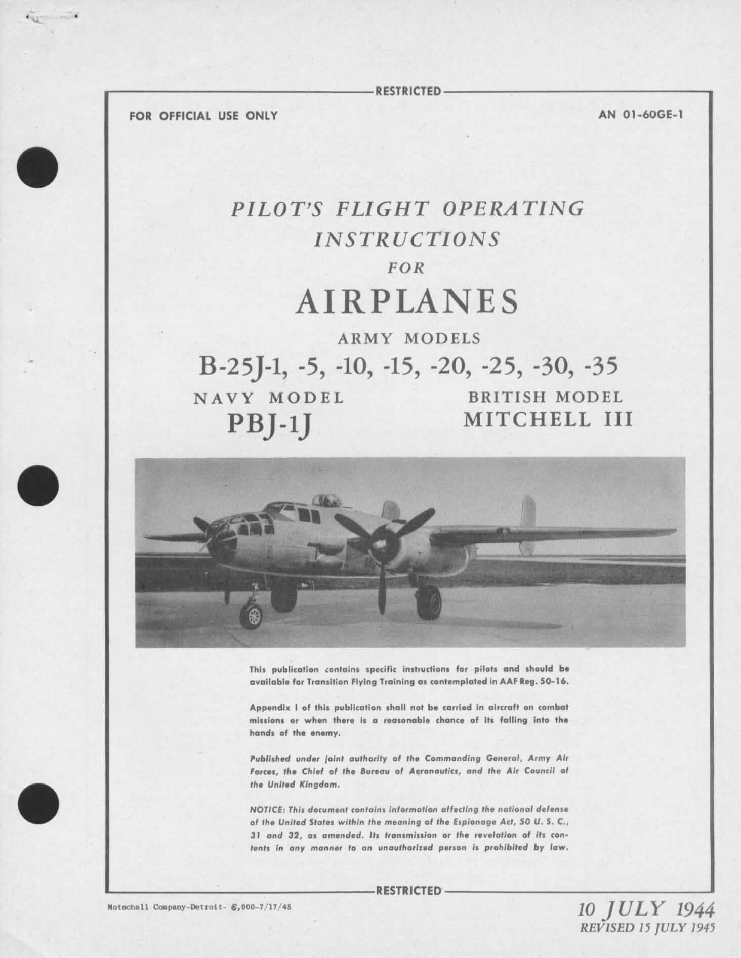 Militaria NORTH AMERICAN B-25H PBJ-1H MITCHELL AN 01-60GD-1
