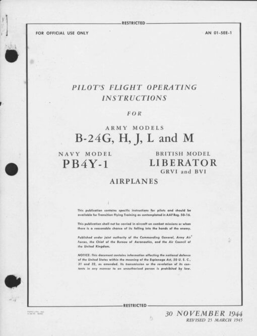 Flight Manual for the Consolidated B-24 LB-30 C-87 RY-3 Liberator