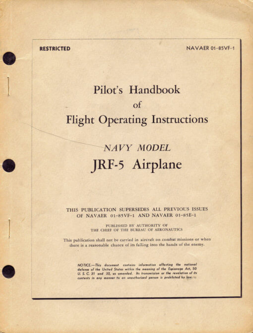 Flight Manual for the Grumman G21 Goose