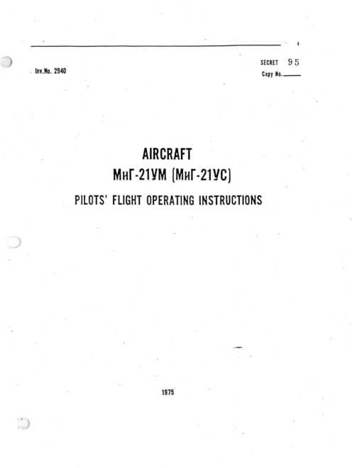 Flight Manual for the MIG-21
