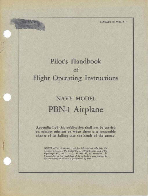 Flight Manual for the Consolidated PBY-5 Catalina