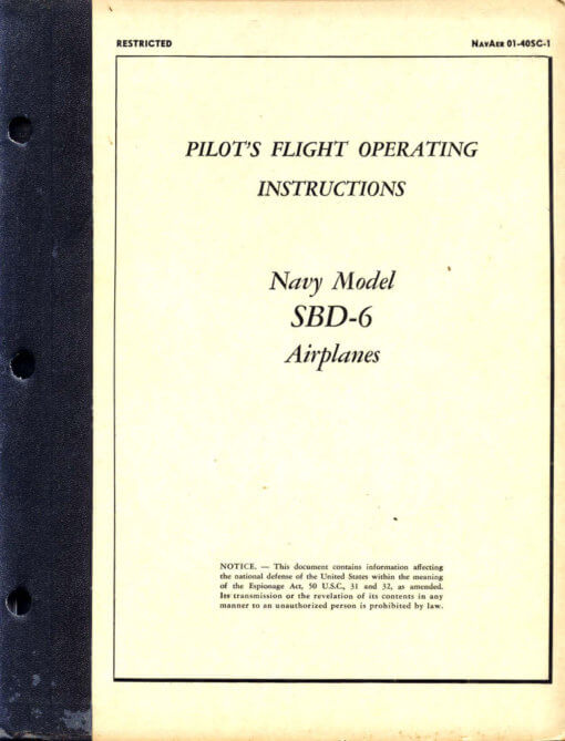 Flight Manual for the Douglas SBD Dauntless