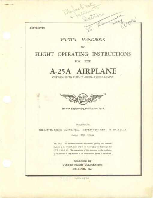 Flight Manual for the Curtiss SB2C A-25 Helldiver