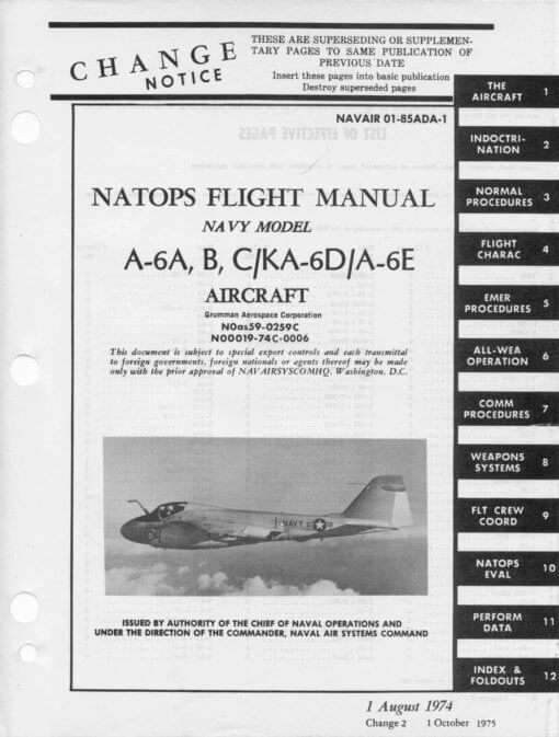 Flight Manual for the Grumman A-6 Intruder