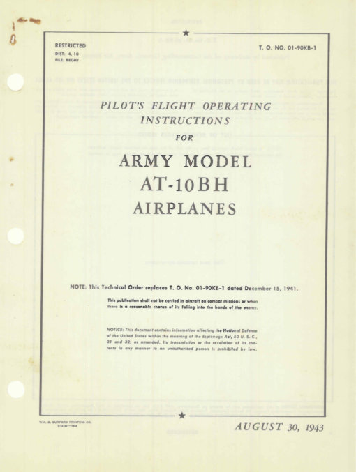 Flight Manual for the Beechcraft AT-10 Wichita