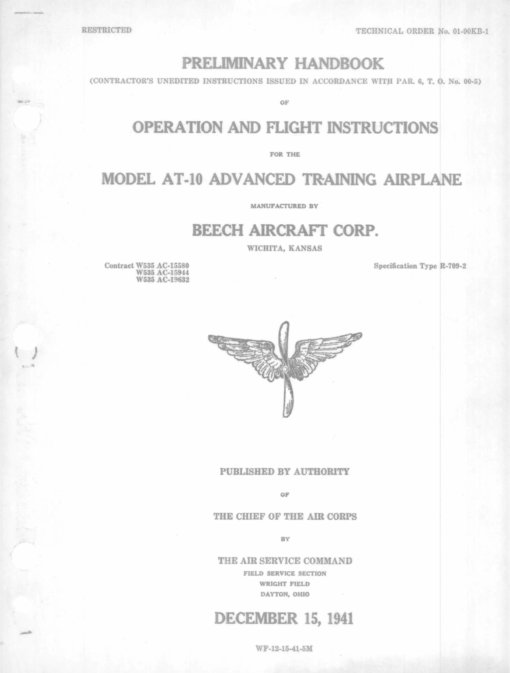 Flight Manual for the Beechcraft AT-10 Wichita