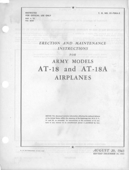 Flight Manual for the Lockheed model 14 A-29 AT-18 Hudson
