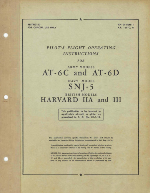 Flight Manual for the North American AT-6 Texan Harvard