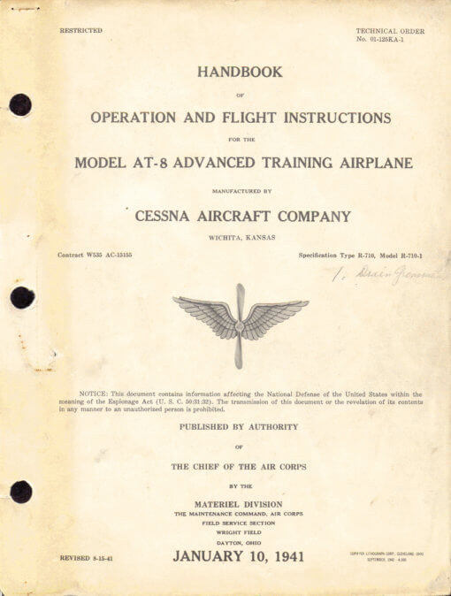 Flight Manual for the Cessna AT-8 AT-17 T-50 Crane
