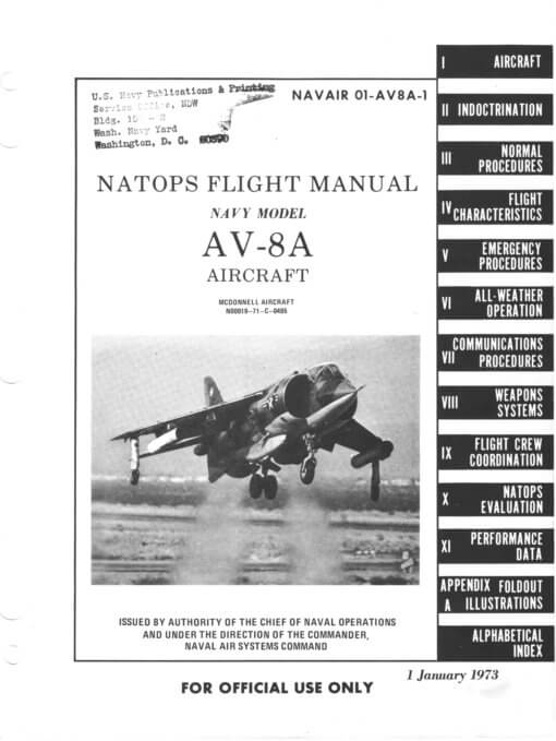 Flight Manual for the McDonnell-Douglas AV-8A Harrier
