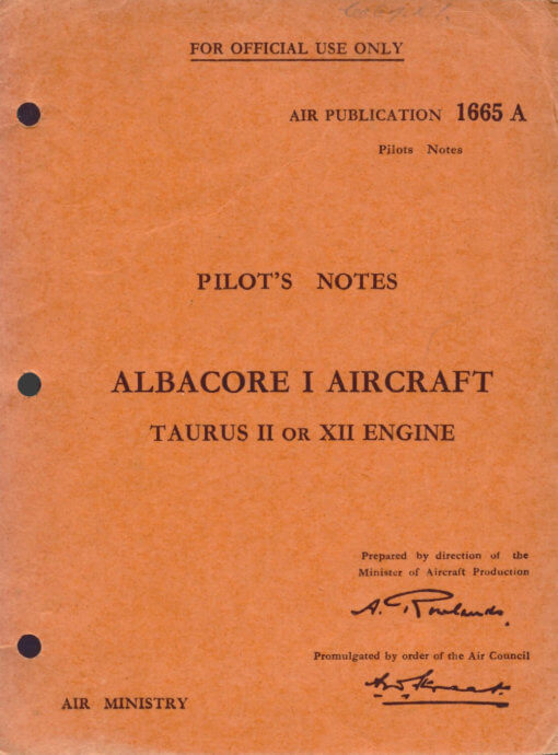 Flight Manual for the Fairey Albacore