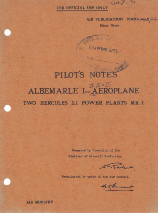 Flight Manual for the Armstrong Whitworth Albemarle