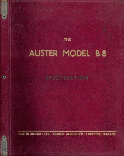 Flight Manual for the Auster B.8 Agricola