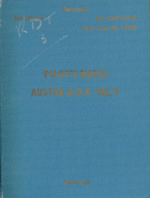 Flight Manual for the Auster
