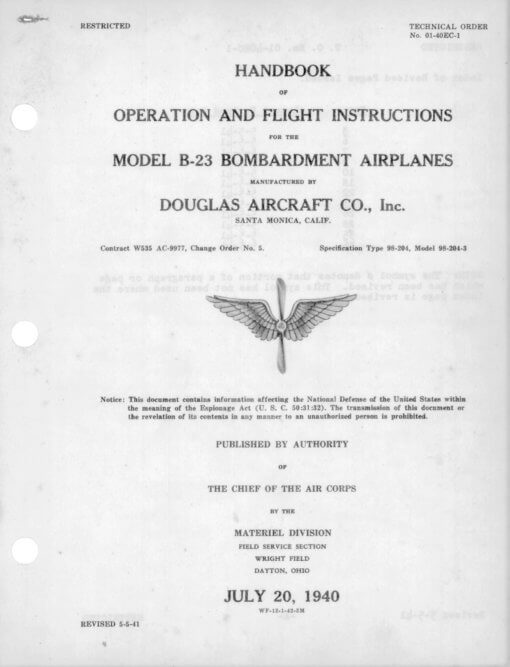 Flight Manual for the Douglas B-23 Dragon