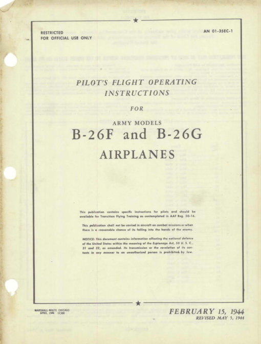 Flight Manual for the Martin B-26 Marauder