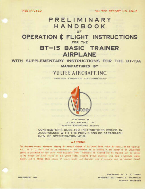 Flight Manual for the Vultee BT-13 BT-15 SNV Valiant