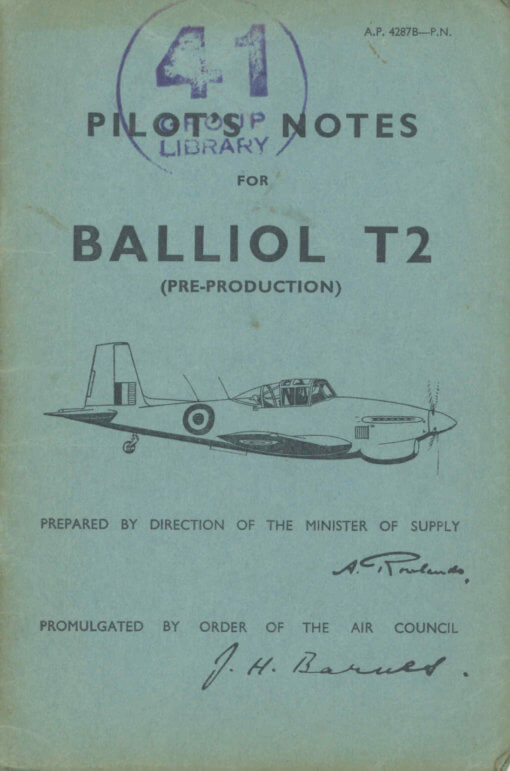 Flight Manual for the Boulton Paul Balliol