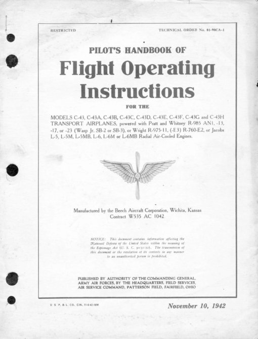 Flight Manual for the Beech Model 17 Staggerwing C-43 UC-43