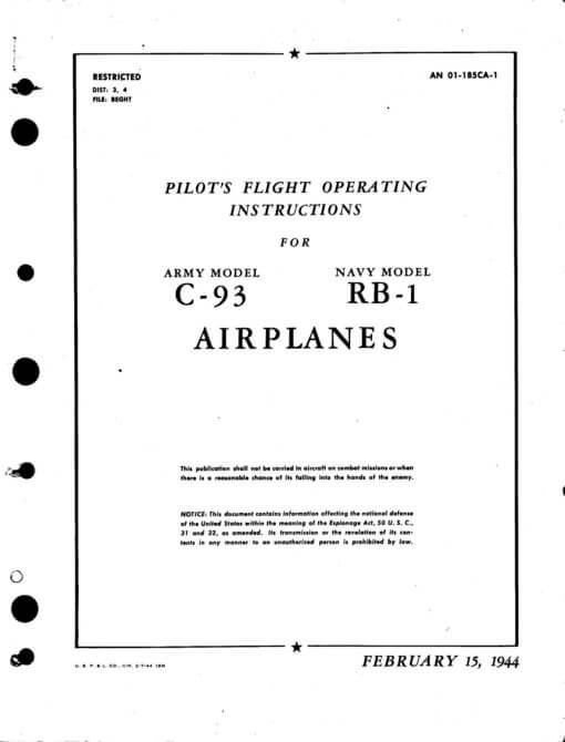 Flight Manual for the Budd C-93 Conestoga