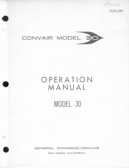 Flight Manual for the Convair CV990