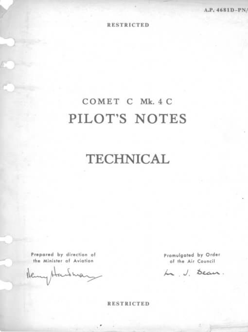 Flight Manual for the De Havilland DH106 Comet