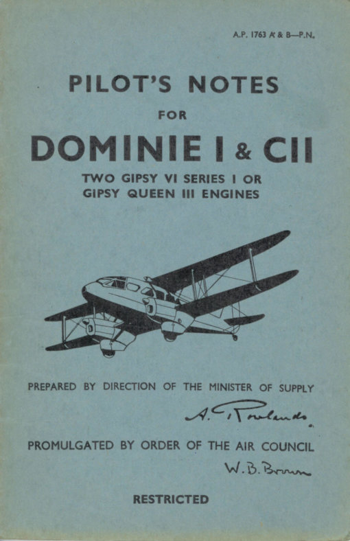 Flight Manual for the DH89 Dragon Rapide
