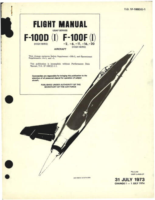 Flight Manual for the North American F-100 Super Sabre.