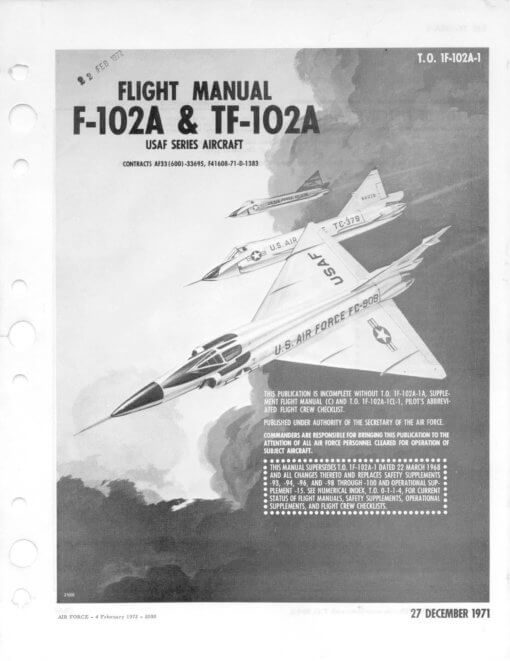 Flight Manual for the Convair F-102 Delta Dagger