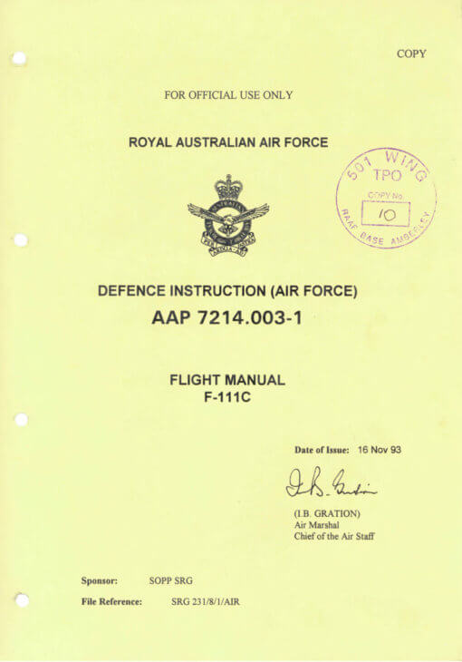 Flight Manual for the General Dynamics F-111 Aardvark