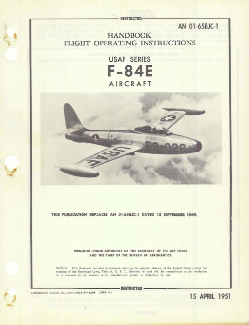 Flight Manual for the Republic F-84 Thunderjet
