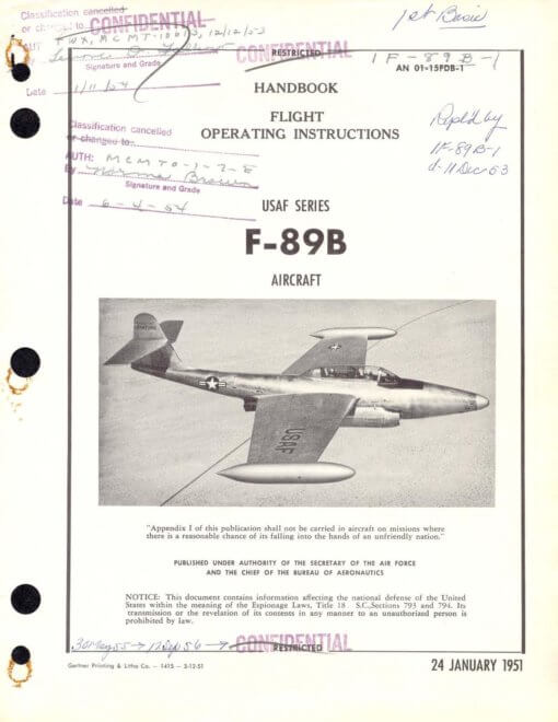 Flight Manual for the Northrop F-89 Scorpion