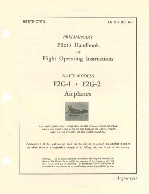 Flight Manual for the Vought F4U Corsair