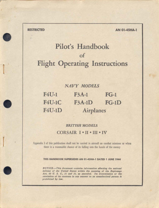Flight Manual for the Chance Vought F4U Corsair
