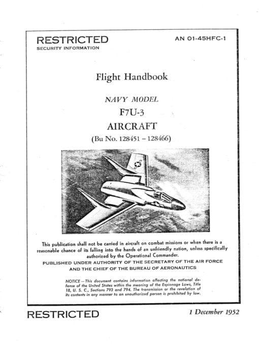 Flight Manual for the Chance Vought F7U Cutlass