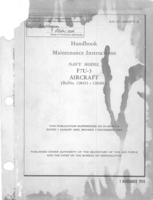 Flight Manual for the Chance Vought F7U Cutlass