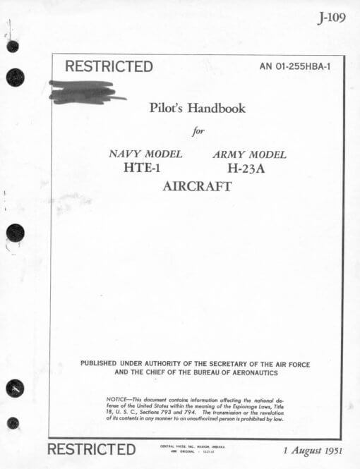Flight Manual for the Hiller H-23 Raven