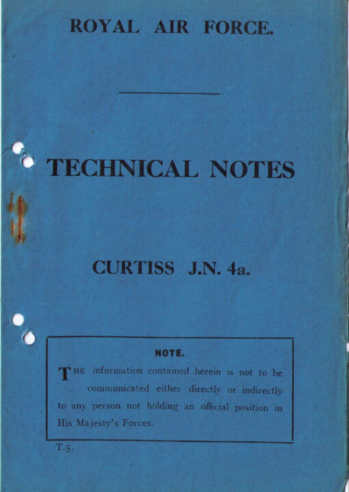 Flight Manual for the Curtiss JN4 Jenny