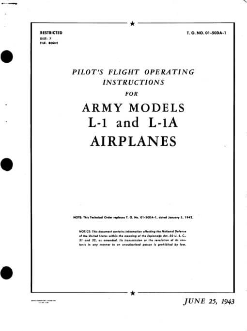 Flight Manual for the Stinson L-1 Vigilant
