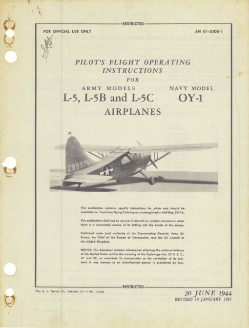 Flight Manual for the Stinson L-5