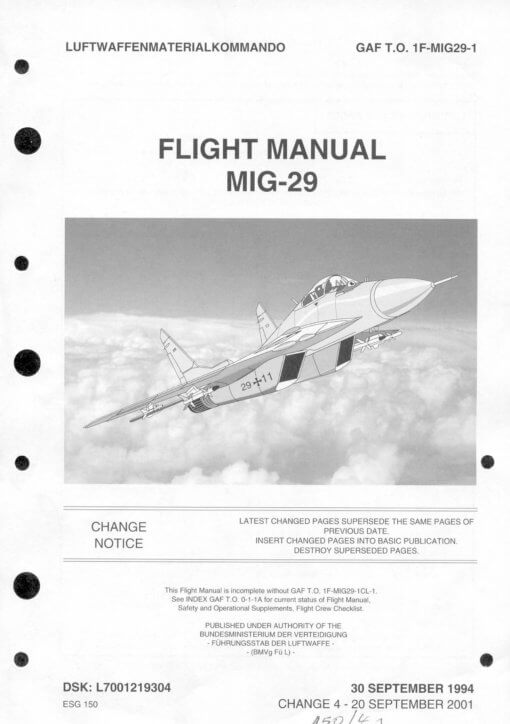 Flight Manual for the MIG-29