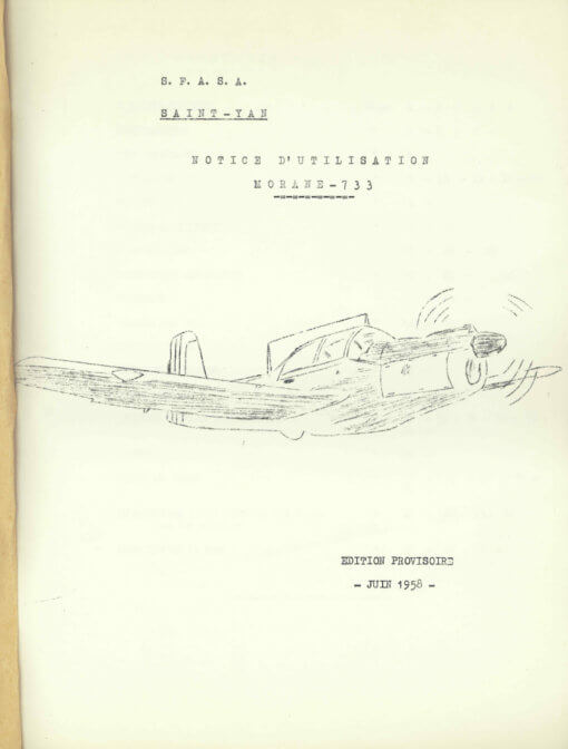 Flight Manual for the Morane-Saulnier MS733 Alcyon