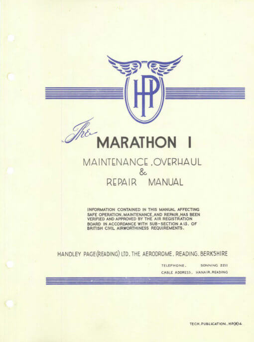 Flight Manual for the Miles M60 Marathon Handley-Page HPR.1 Marathon